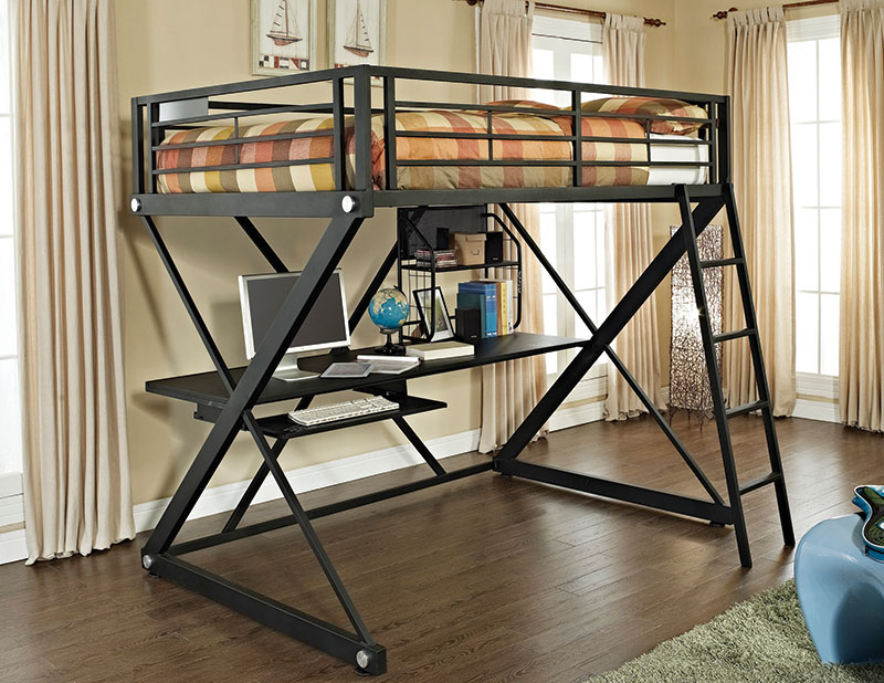 354 117 Z Bedroom Full Size Study Loft Bunk Bed Ships